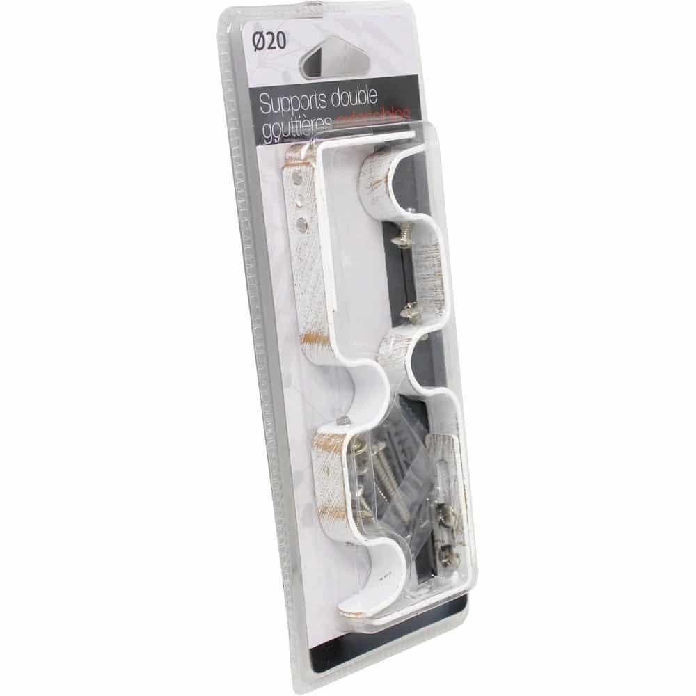 2 Supports de tringles doubles Ø 20 mm entraxe réglable 165-190 mm Blanc et or