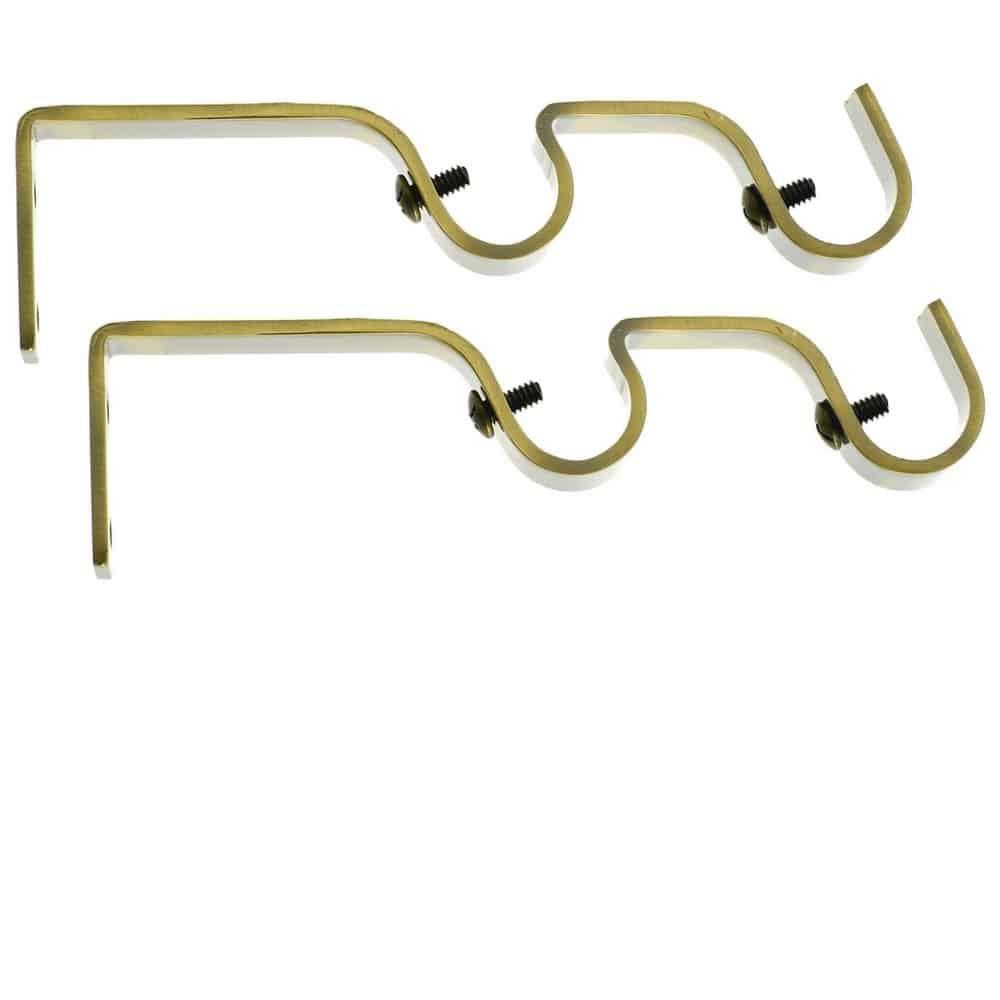 2 Supports pour tringles à rideaux doubles gouttières Ø 19 mm
