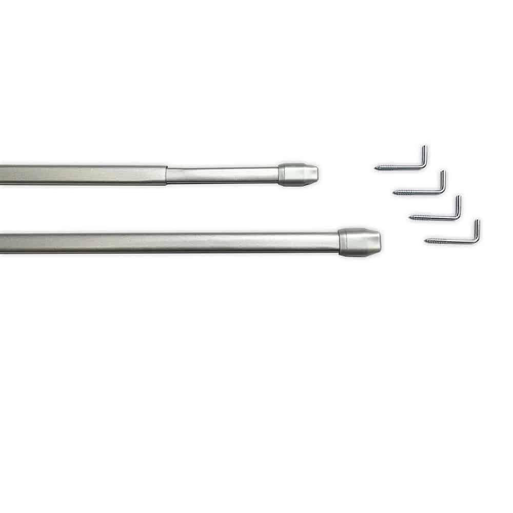 Tringles à rideaux extensibles 40 à 70 cm qualité sup Gris Aluminium 2 tringles