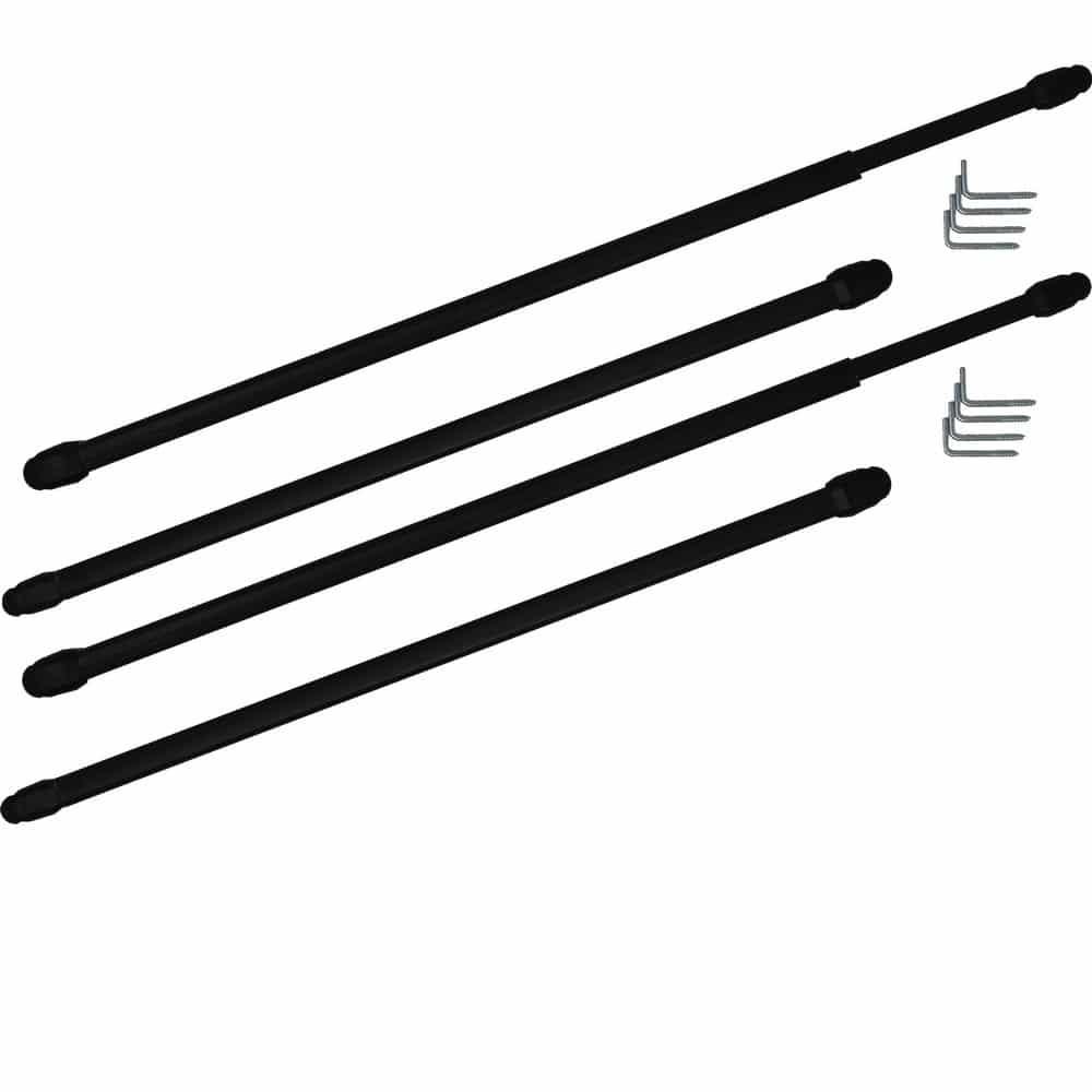 2 tringles à rideaux supérieures extensibles de 40 à 55 cm noir