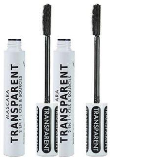 2 Mascaras transparents, 2 en 1, cils et sourcils, 13 ml